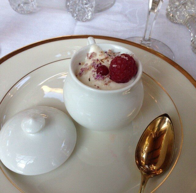 Pots De Creme with you guessed it, candied Rose Petals on top.