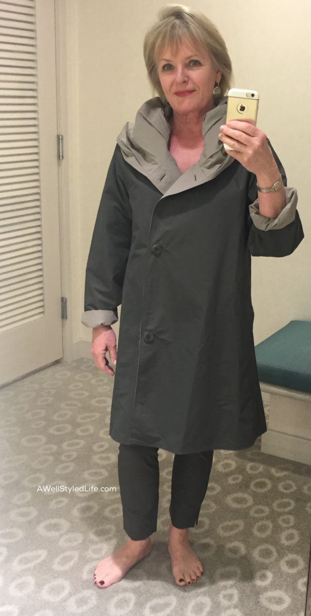 Eileen Fisher reversible hooded raincoat in Oregano and Stone