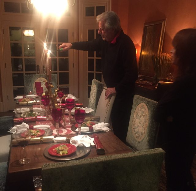 lighting the candles for dinner