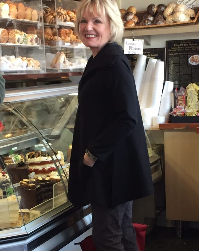 looking over the pastries at Sherman's deli in Palm Springs