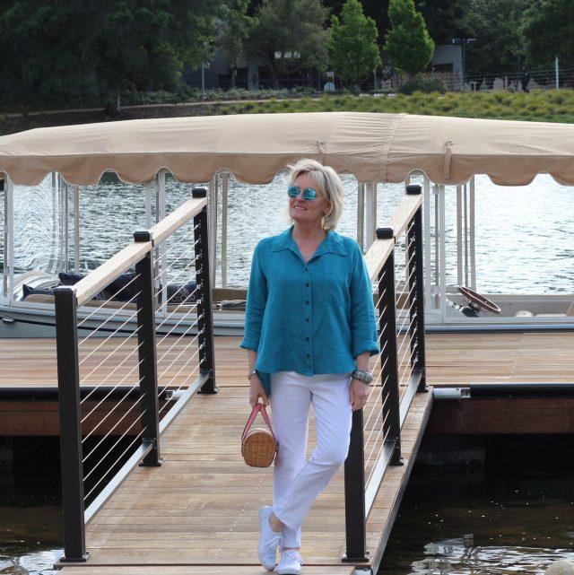 dockside wearing Lisa Bayne linen shirt