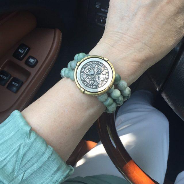 triple strand Sea Mist Jade French Kande bracelet