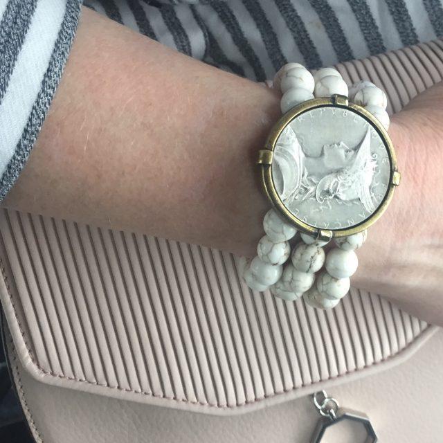 French Kande white turquoise triple strand bracelet