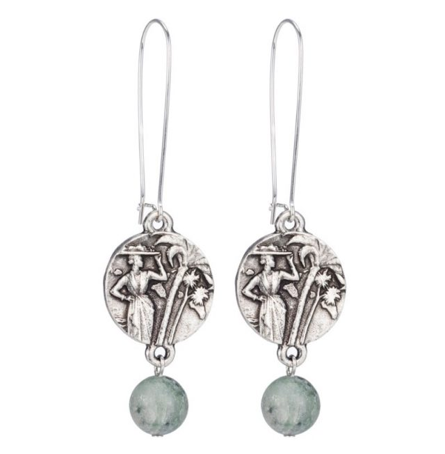 DROP EARRINGS WITH MINI COLOMBIE MEDALLION AND SEA MIST JADE