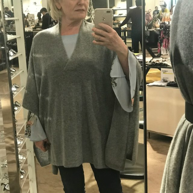 Jennifer Connolly of A Well Styled Life wearing cashmere poncho from Nordstrom Anniversary sale