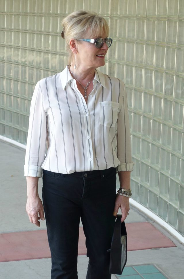 Jennifer Connolly of A Well Styled Life modeling LILYSILK shirt