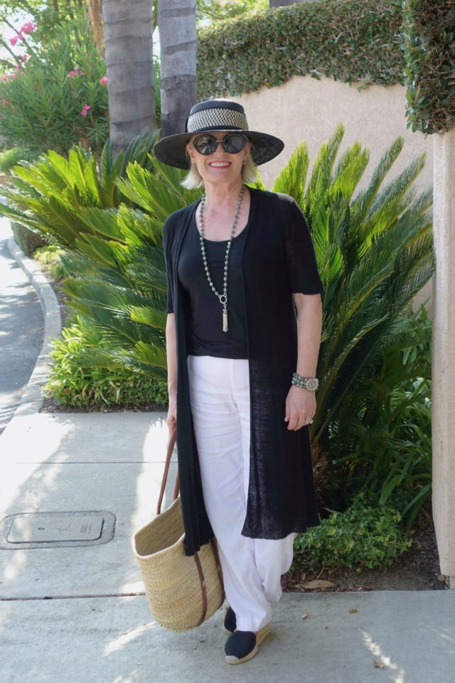 Jennifer Connolly of A well Styled life in white linen from J.Jill