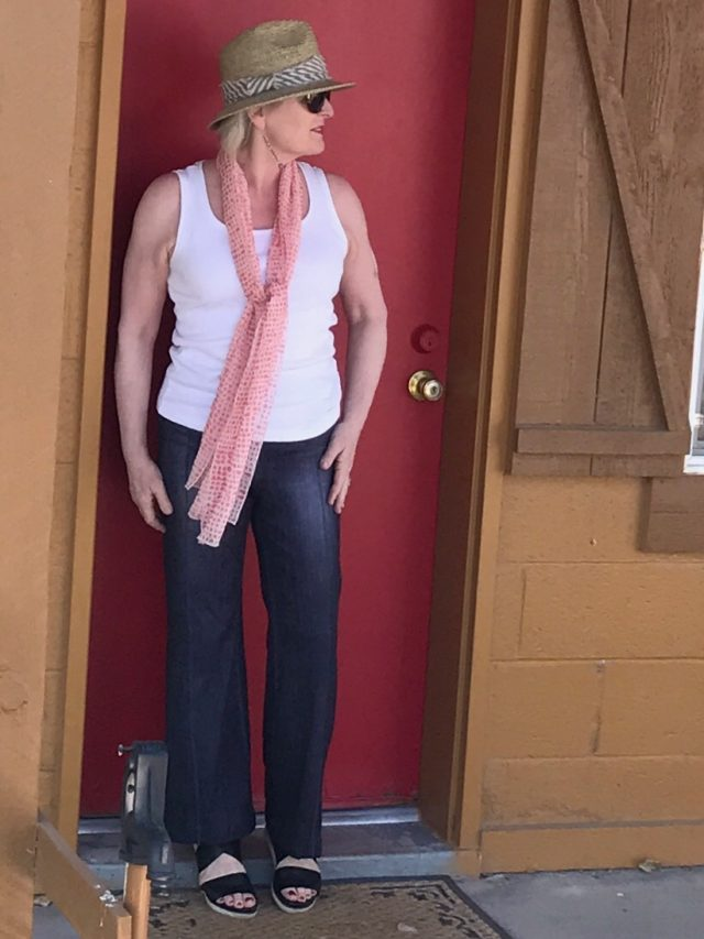 Jennifer Connolly of A Well Styled Life wearing Lucy stretch pants