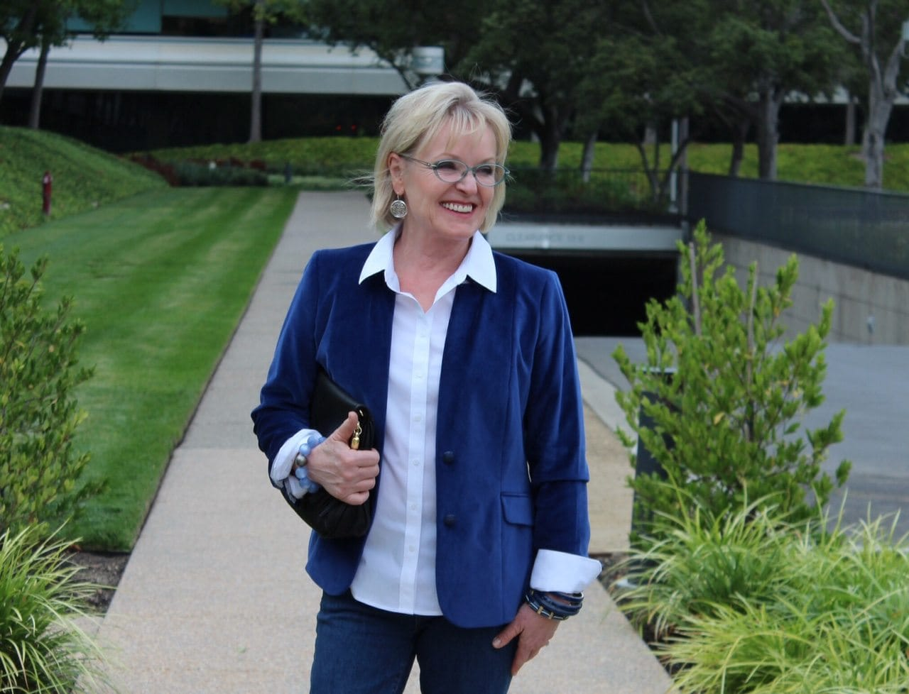 Jennifer Connolly of A Well Styled Life wearing Velveteen Blazer from Talbots