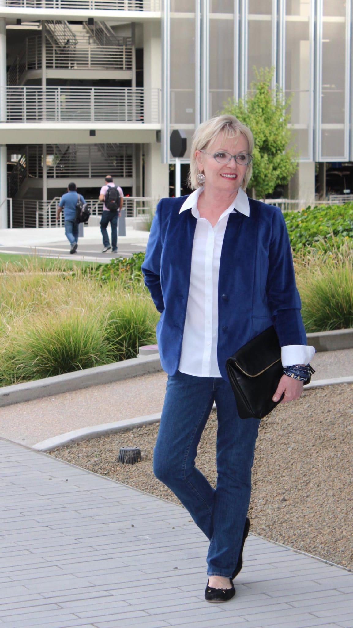 Jennifer Connolly of A Well Styled Life wearing Talbots blue Velveteen Blazer