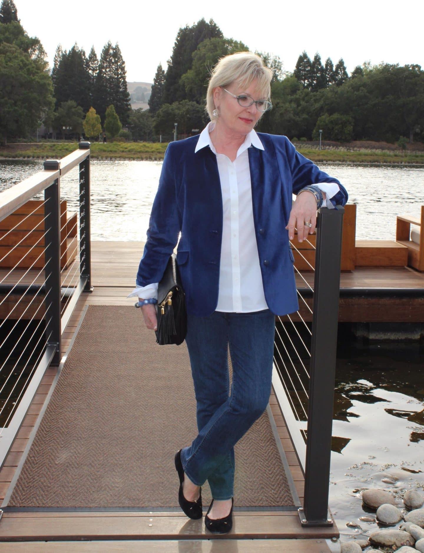 Jennifer Connolly of A Well Styled Life wearing Talbots Velveteen blazer