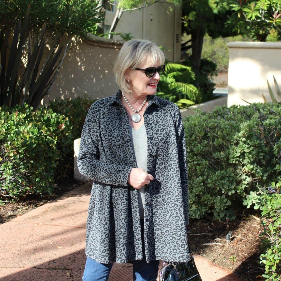 Jennifer Connolly of A Well Styled Life wearing gray leopard and Soft Surroundings