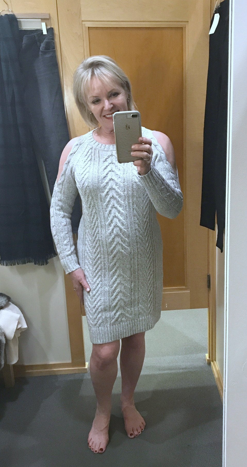Jennifer Connolly of A Well Styled Life wearing Cold Shoulder cable dress from the Loft