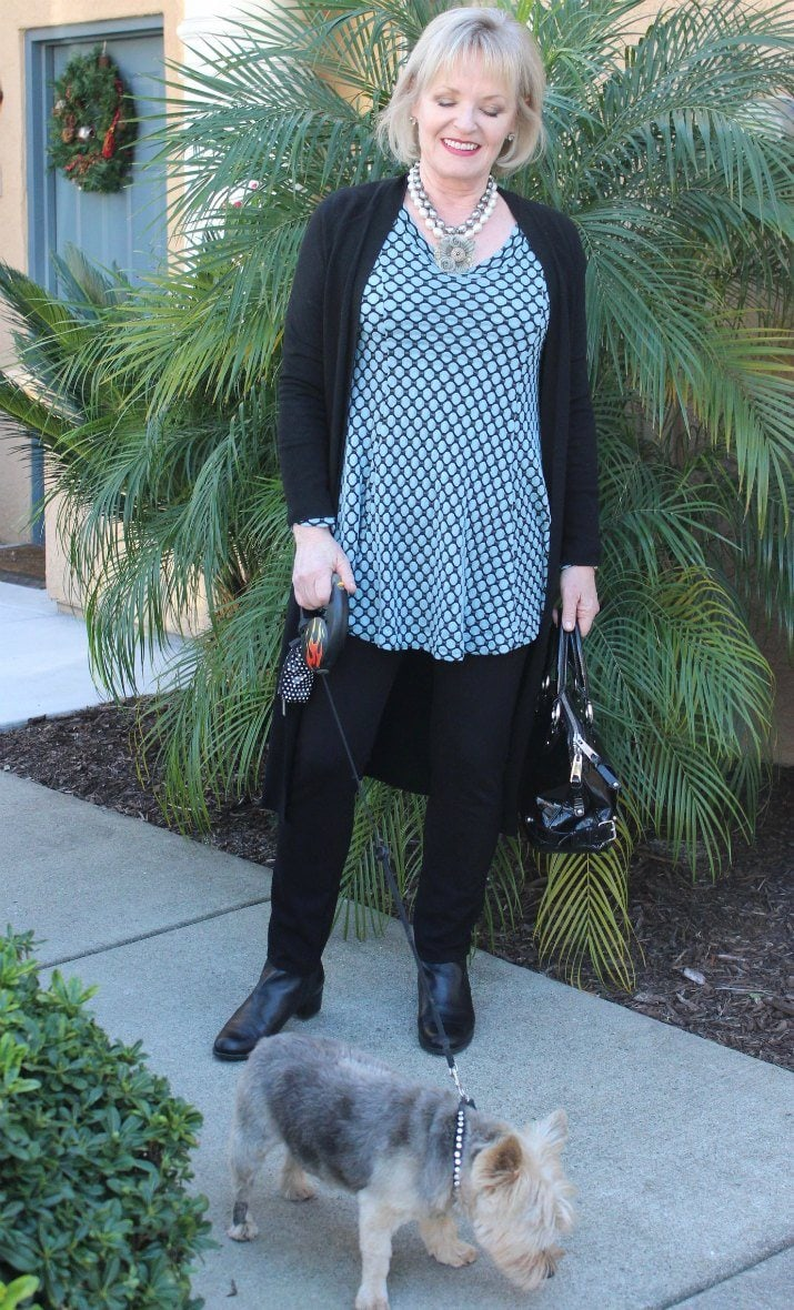 Jennifer Connolly of A Well Styled Life wearing Talbots duster
