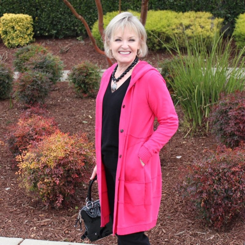 Jennifer Connolly of A Well Styled Life wearing Bee Hoodie in Pomigranite